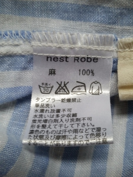 ネストローブ 長袖シャツブラウス レディース美品  白×ライトブルー 4
