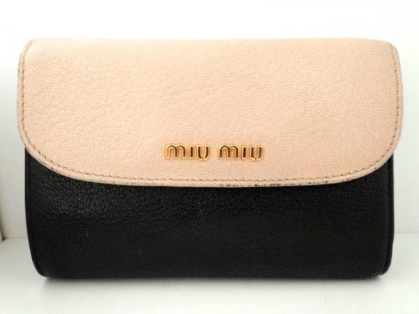 miumiu(ミュウミュウ) 3つ折り財布 - 5ML225 黒×ベージュ レザー 0