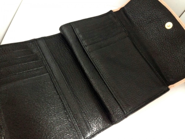 miumiu(ミュウミュウ) 3つ折り財布 - 5ML225 黒×ベージュ レザー 3