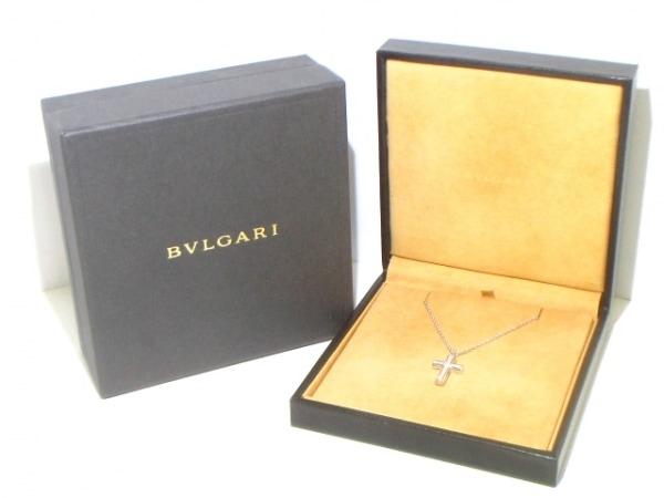 BVLGARI(ブルガリ) ネックレス ラテンクロス K18WG×ダイヤモンド 7