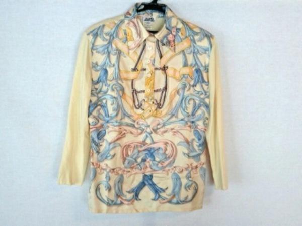 エルメス 長袖ポロシャツ サイズL レディース美品  肩パッド/ニット 0