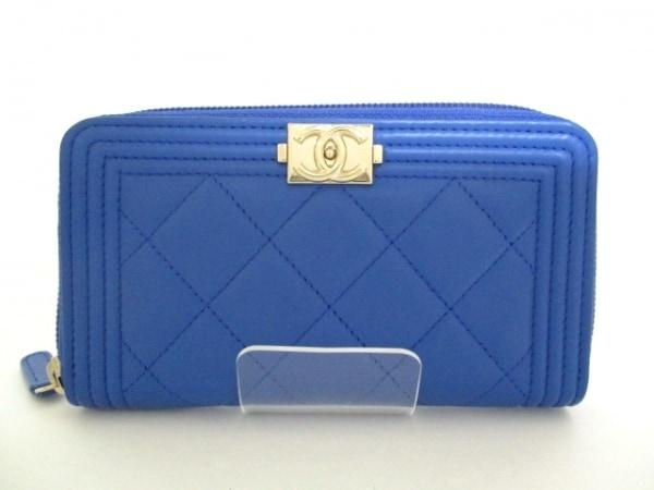シャネル 財布美品  ボーイシャネル A80566 ブルー ラムスキン 0