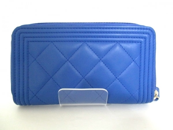 シャネル 財布美品  ボーイシャネル A80566 ブルー ラムスキン 2
