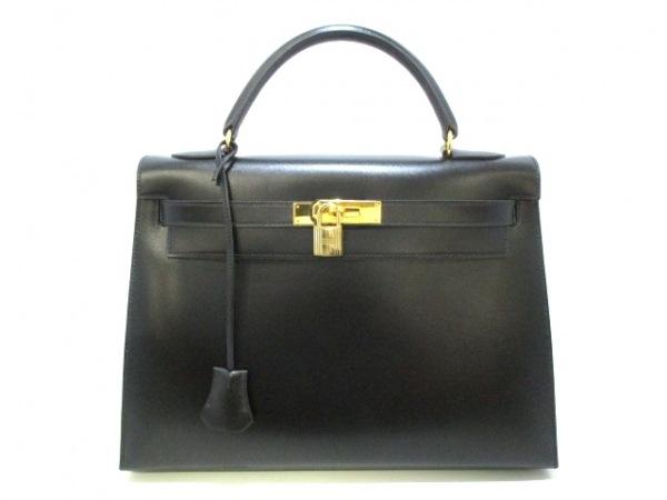 HERMES(エルメス) ハンドバッグ ケリー32 黒 外縫い/ゴールド金具 0