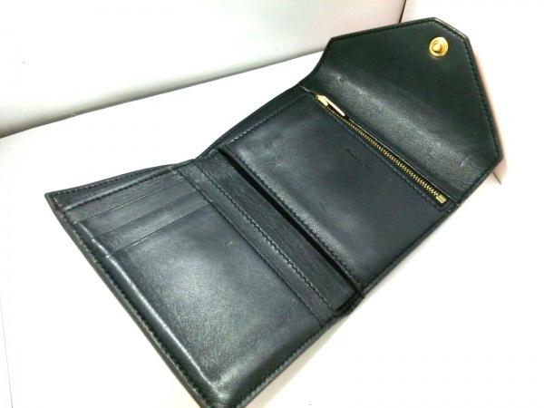 CELINE(セリーヌ) 3つ折り財布 - 黒×オレンジ×ライトピンク レザー 3