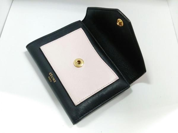 CELINE(セリーヌ) 3つ折り財布 - 黒×オレンジ×ライトピンク レザー 6