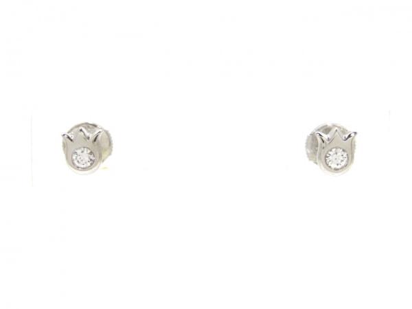 カルティエ ピアス美品  リリーオブザバレー K18WG×ダイヤモンド 0