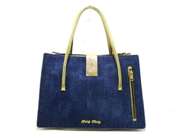 ミュウミュウ ハンドバッグ マドラス RN1104 ブルー×ゴールド 3
