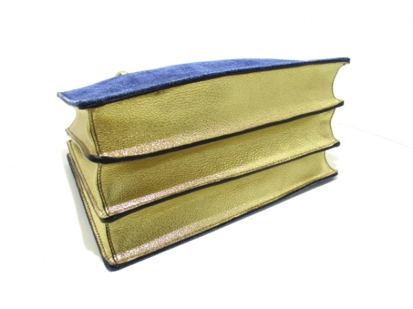 ミュウミュウ ハンドバッグ マドラス RN1104 ブルー×ゴールド 4