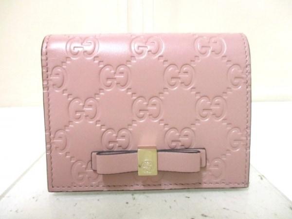 グッチ カードケース美品  シマライン/ボウイ 406924 ピンク レザー 0