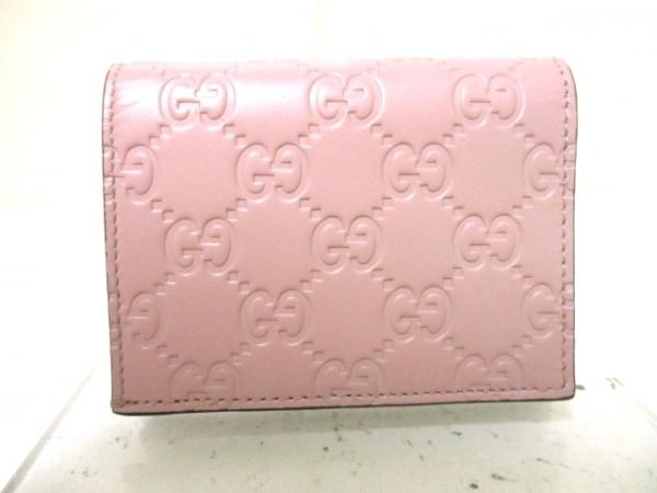 グッチ カードケース美品  シマライン/ボウイ 406924 ピンク レザー 2