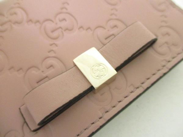 グッチ カードケース美品  シマライン/ボウイ 406924 ピンク レザー 5