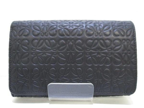 ロエベ 2つ折り財布 リピート 107.55.G96 黒 型押し加工 レザー 0