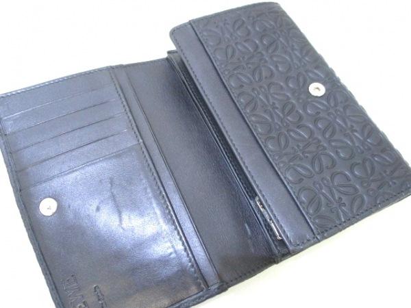 ロエベ 2つ折り財布 リピート 107.55.G96 黒 型押し加工 レザー 3
