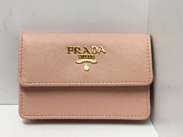 PRADA(プラダ) 名刺入れ美品  - 1M0881 ピンク レザー 0
