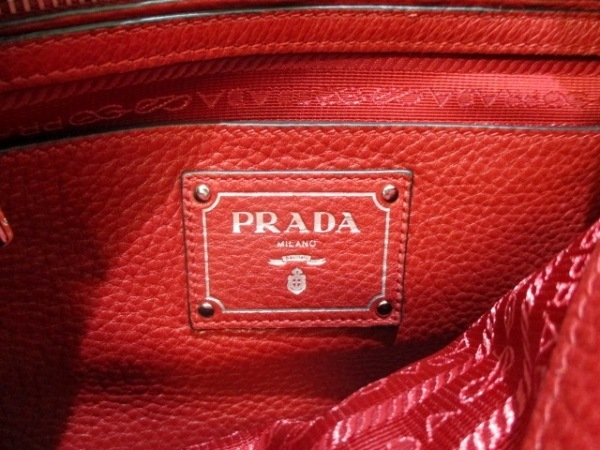 PRADA(プラダ) ハンドバッグ美品  - 1BB022 レッド 革タグ レザー 6