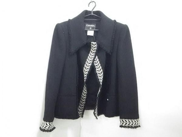 CHANEL(シャネル) ジャケット サイズ42 L レディース 黒×アイボリー 0