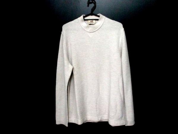 エルメス 長袖セーター サイズL L メンズ ライトグレー カシミヤ 0