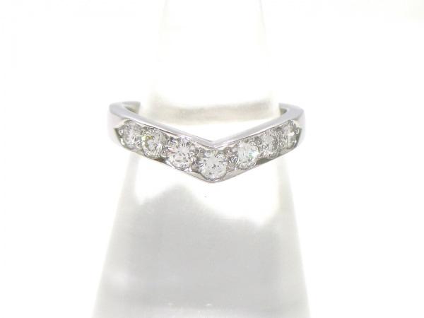 ティファニー リング美品  Vバンドリング Pt950×ダイヤモンド 0