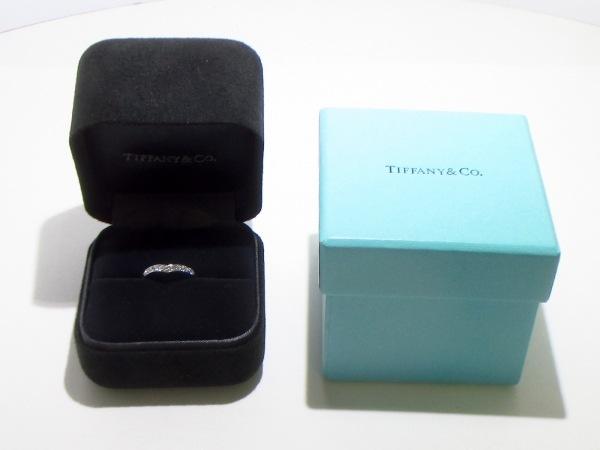 ティファニー リング美品  Vバンドリング Pt950×ダイヤモンド 8