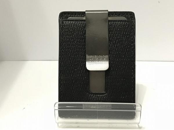 HUGOBOSS(ヒューゴボス) パスケース美品  黒 型押し加工 レザー 0