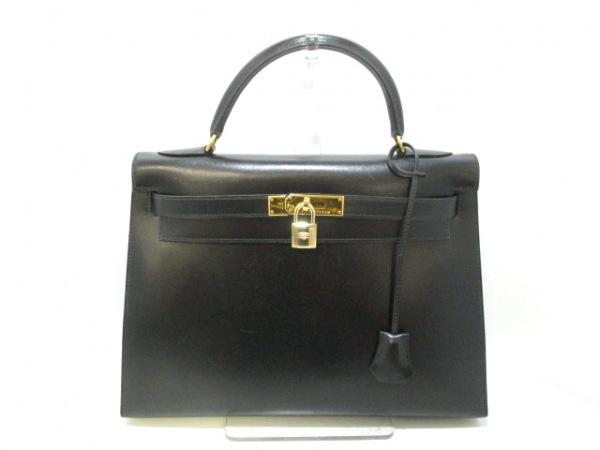 エルメス ハンドバッグ美品  ケリー32 黒 外縫い/ゴールド金具 0