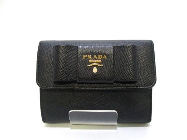 PRADA(プラダ) 3つ折り財布 - 黒 リボン レザー 0