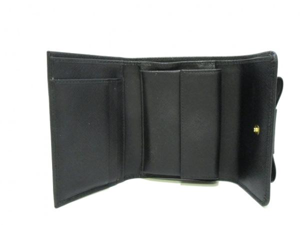 PRADA(プラダ) 3つ折り財布 - 黒 リボン レザー 3
