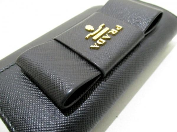 PRADA(プラダ) 3つ折り財布 - 黒 リボン レザー 7