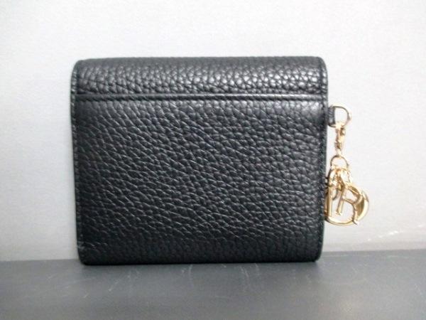 クリスチャンディオール 3つ折り財布美品  - 黒 レザー 2