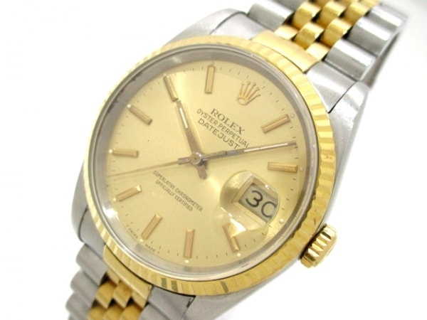 ロレックス 腕時計 デイトジャスト 16233 メンズ シャンパンゴールド 0