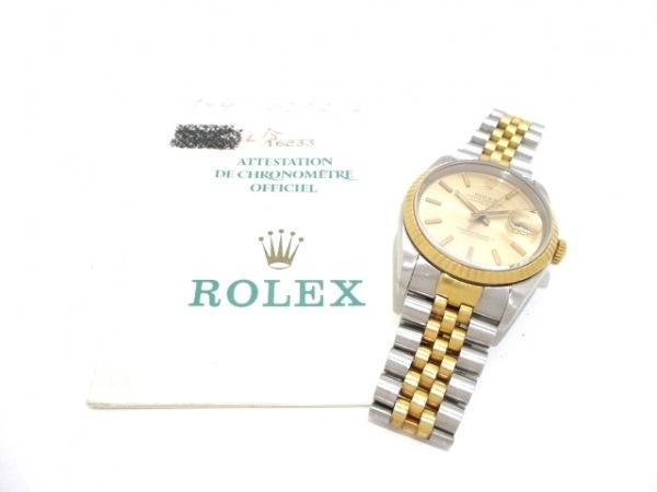 ロレックス 腕時計 デイトジャスト 16233 メンズ シャンパンゴールド 9