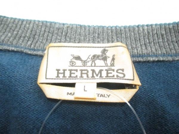 エルメス 長袖セーター サイズL メンズ ネイビー×グレー×黒 3