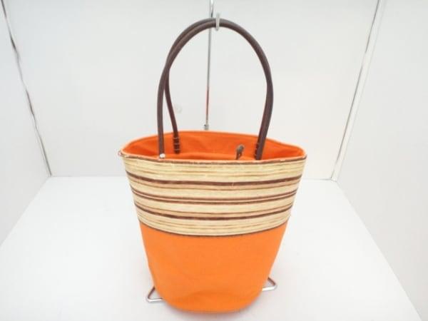 【中古】 トプカピ TOPKAPI トートバッグ オレンジ アイボリー ダークブラウン 巾着