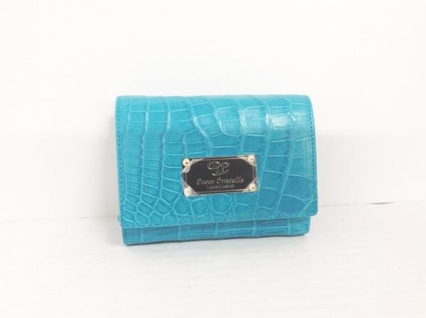 【中古】 コッコクリスターロ COCCO CRISTALLO 3つ折り財布 新品同様 ブルー クロコダイル
