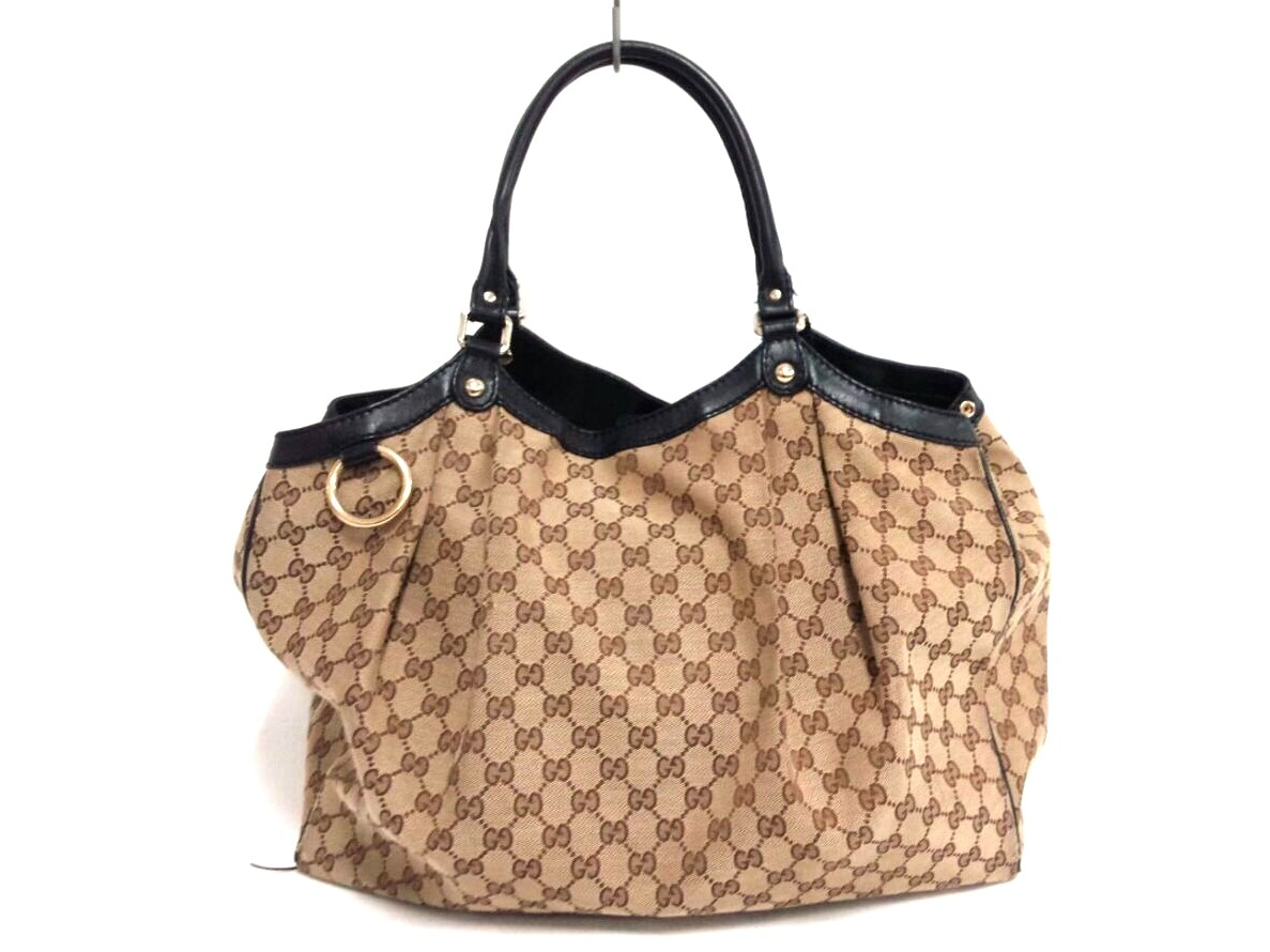 3174f32fdfe Image is loading Auth-GUCCI-GG-211943-Beige-Dark-Brown-Jacquard-