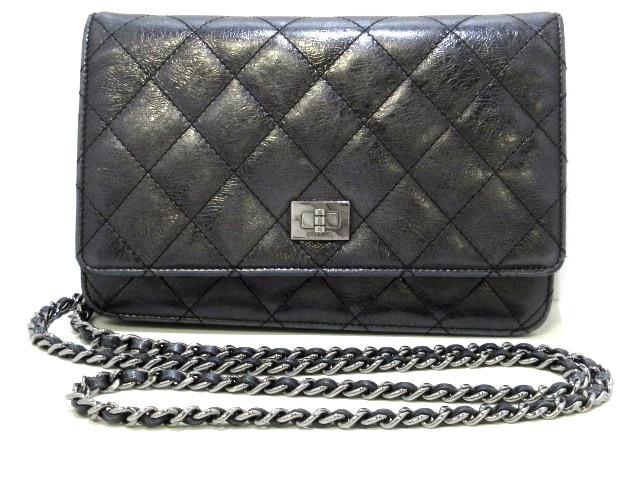 f3e9c94c277b CHANEL(シャネル) 財布 2.55 黒 チェーンウォレット/シルバー金具 ...