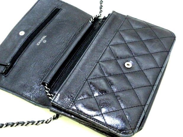 0a33f81c0876 ... CHANEL(シャネル) 財布 2.55 黒 チェーンウォレット/シルバー金具 3 ...
