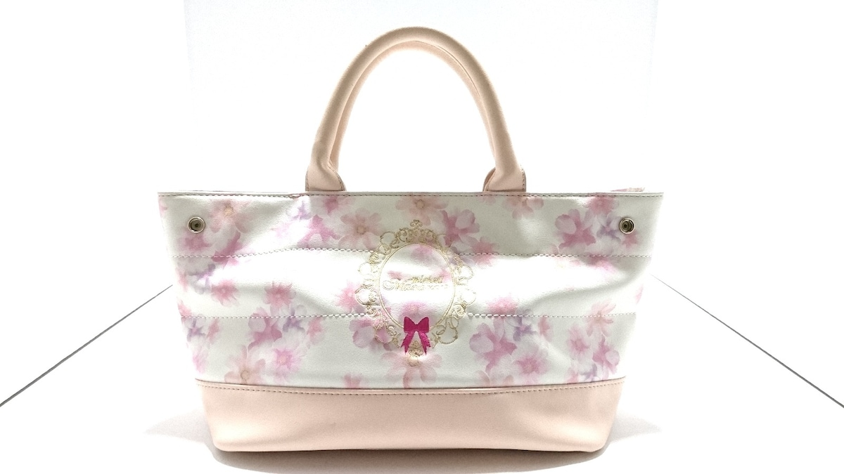 45c3a7297b24 ミシェルマカロン トートバッグ美品 ベージュ×白×ピンク 花柄(11962131 ...