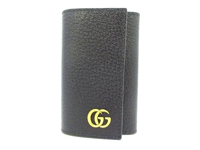 hot sales dea56 179bf グッチ キーケース美品 GGマーモント 435305 黒 6連フック レザー