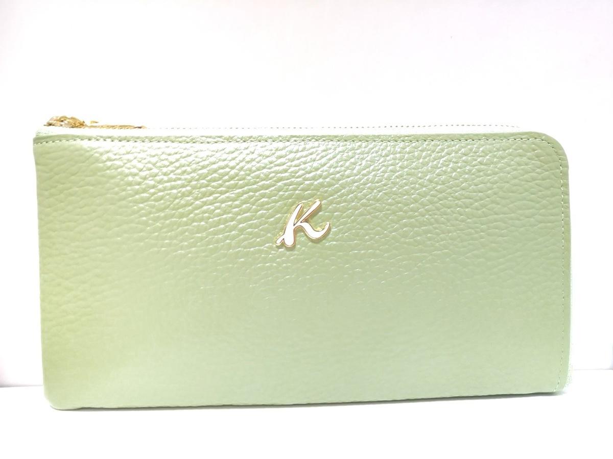 c0af17846a39 Kitamura K2(キタムラ) 長財布美品 ライトグリーン レザー(12234042 ...