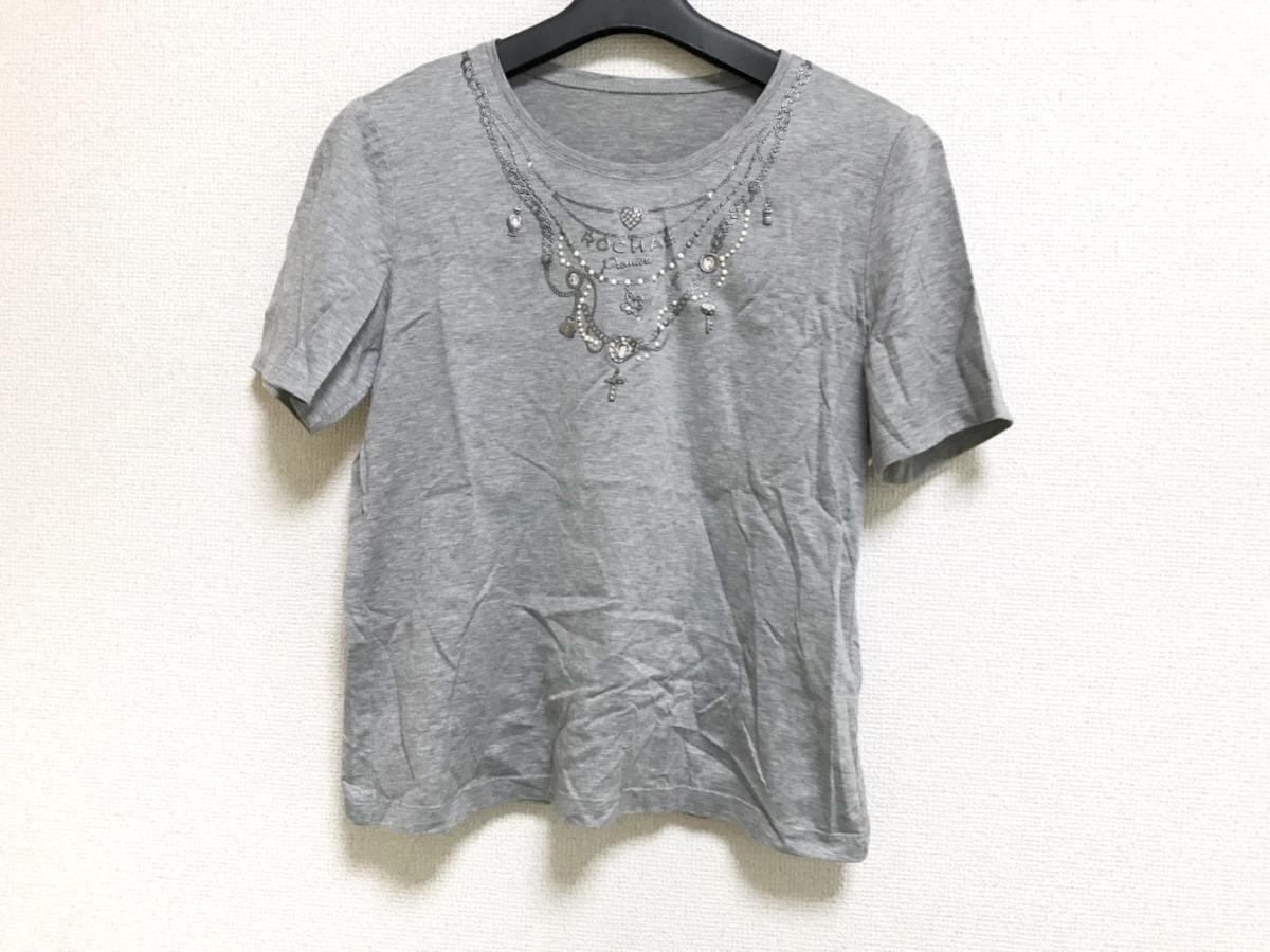 6bb6da871555 ROCHAS(ロシャス) 半袖Tシャツ レディース美品 グレー ビジュー ...
