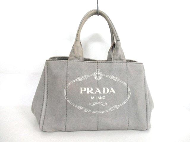 buy popular 3d6e0 59337 PRADA(プラダ) トートバッグ CANAPA グレー×アイボリー キャンバス