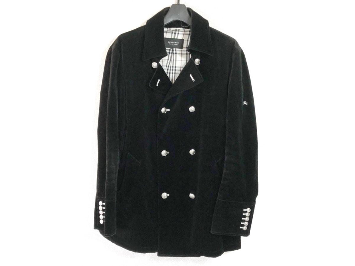 2f62461ba6f264 バーバリーブラックレーベル Pコート サイズL メンズ 黒 ベロア/冬物 ...