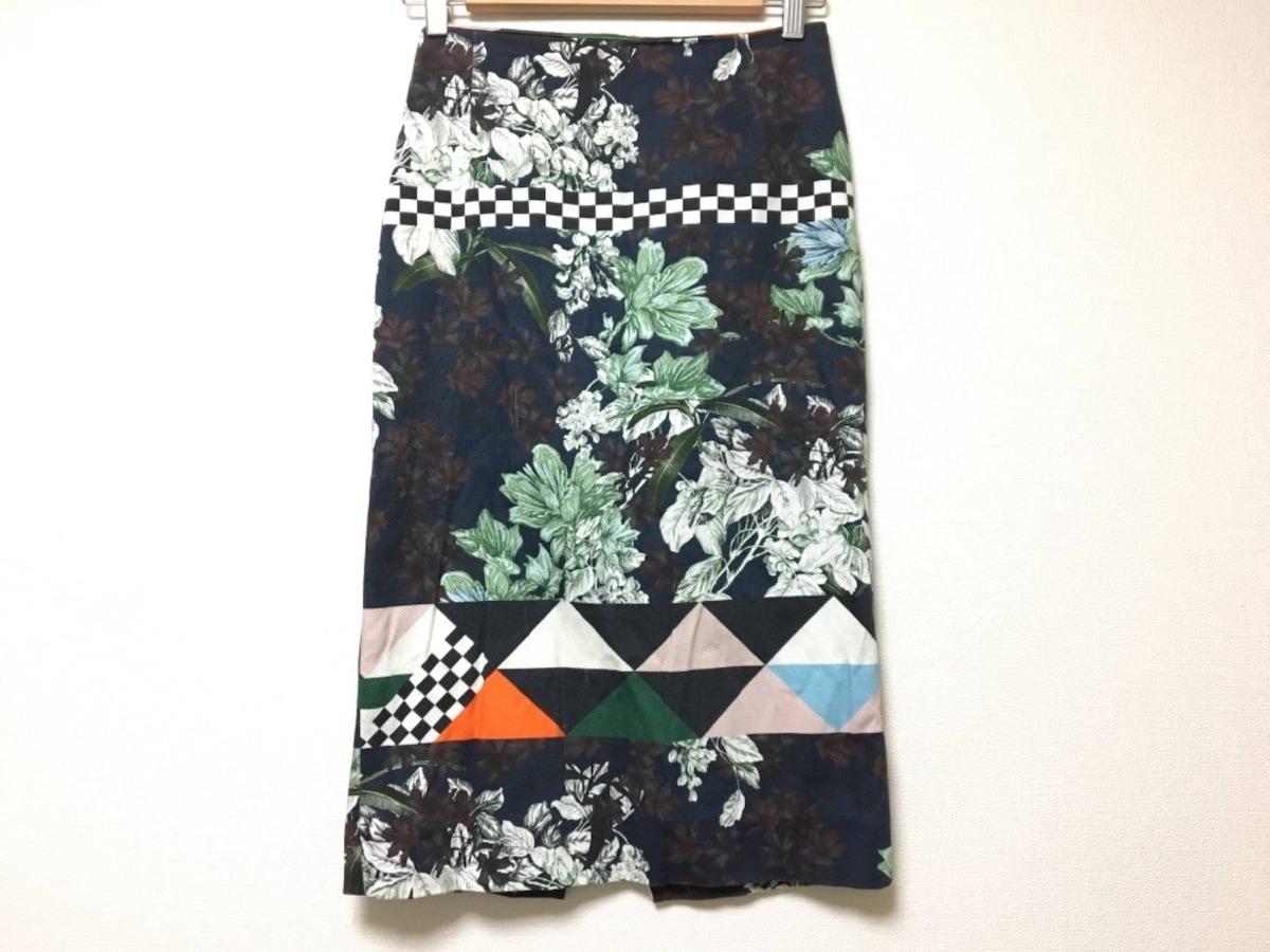 MSGM(エムエスジィエム)のスカート ダークネイビー×白×マルチ