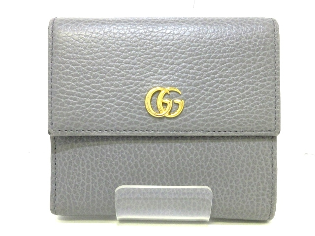c21f8294023c GUCCI(グッチ) Wホック財布美品 GGマーモント 456122 グレー レザー ...