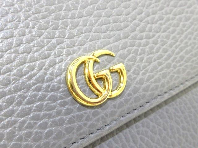 4d59270c1977 ... GUCCI(グッチ) Wホック財布美品 GGマーモント 456122 グレー レザー ...