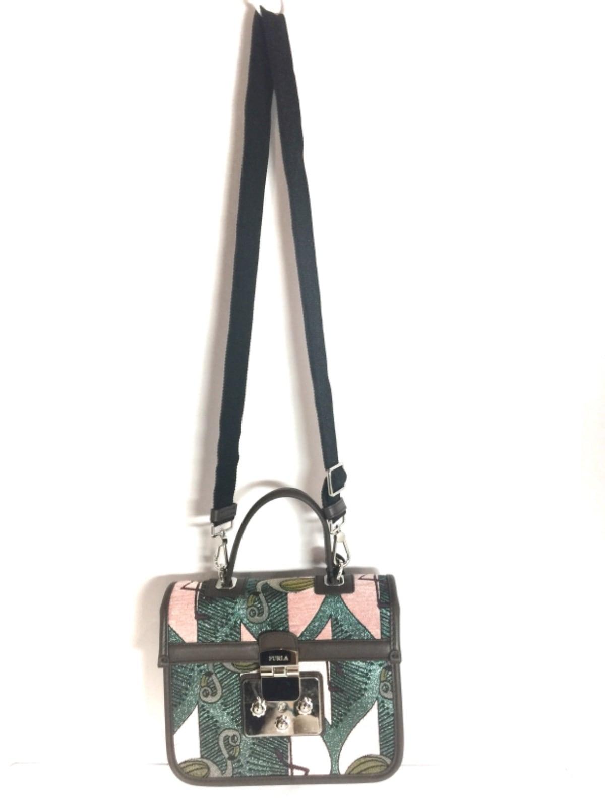 3885a3e62754 ... FURLA(フルラ) ハンドバッグ美品 グリーン×マルチ ラメ/フラミンゴ ...