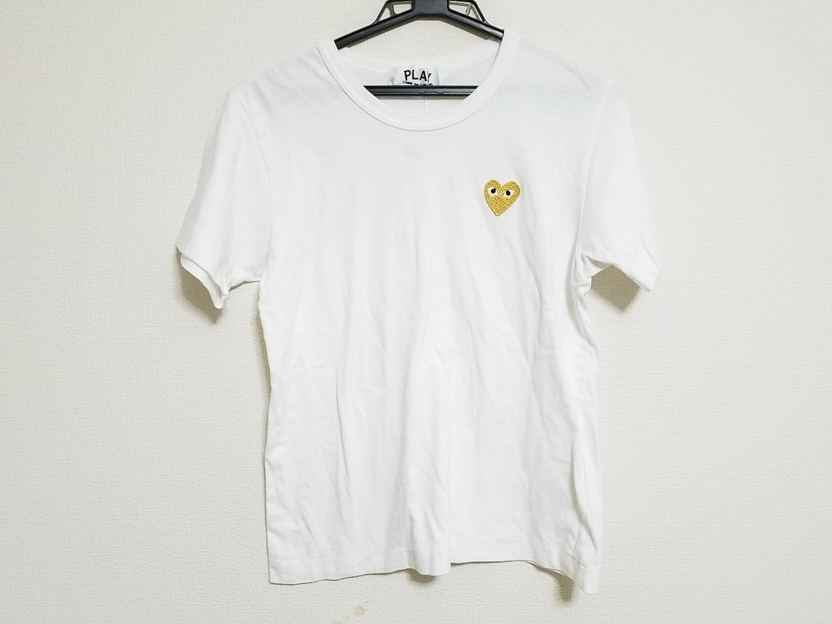 PLAY COMMEdesGARCONS(プレイコムデギャルソン)のTシャツ 白×ゴールド×黒
