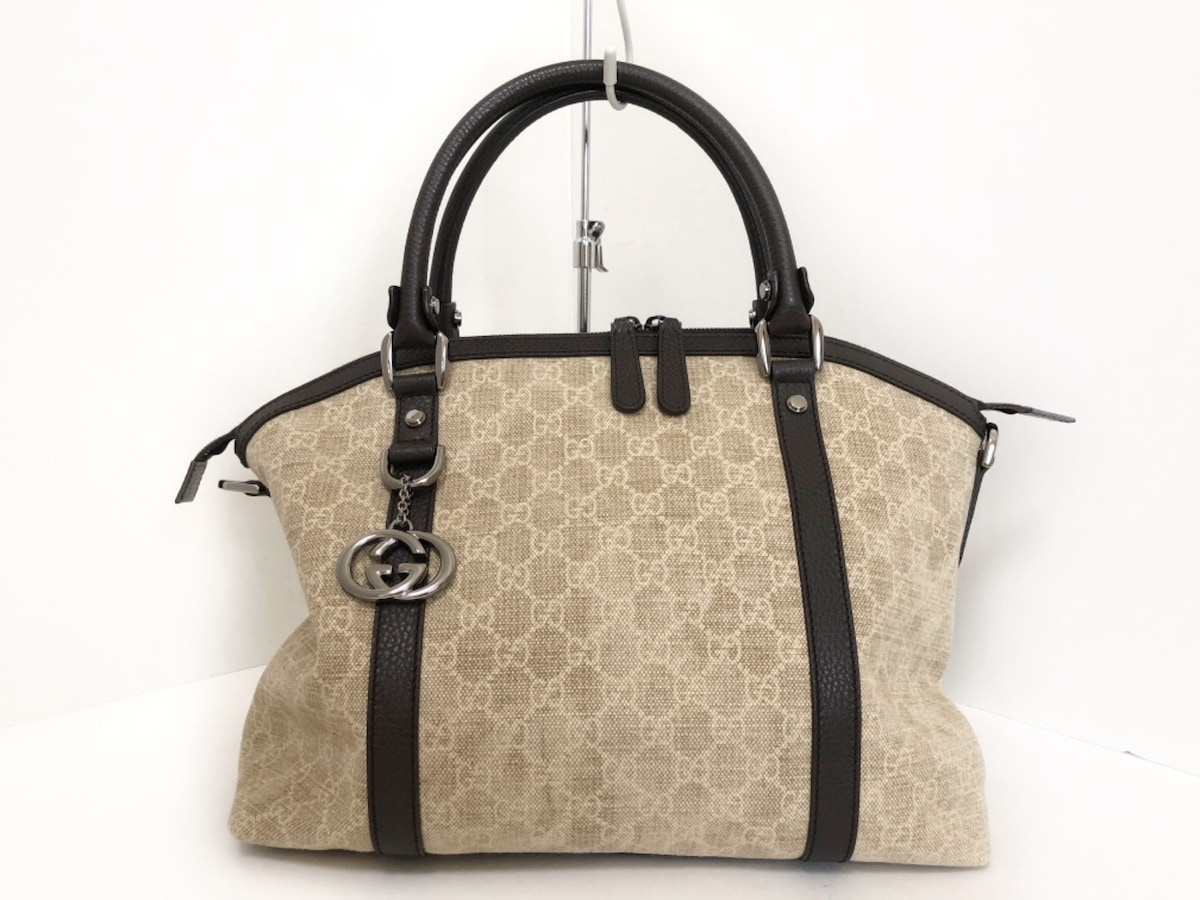 5bf8c08b7774 Auth GUCCI GG 341503 Beige Ivory Dark Brown Jacquard Leather Handbag ...